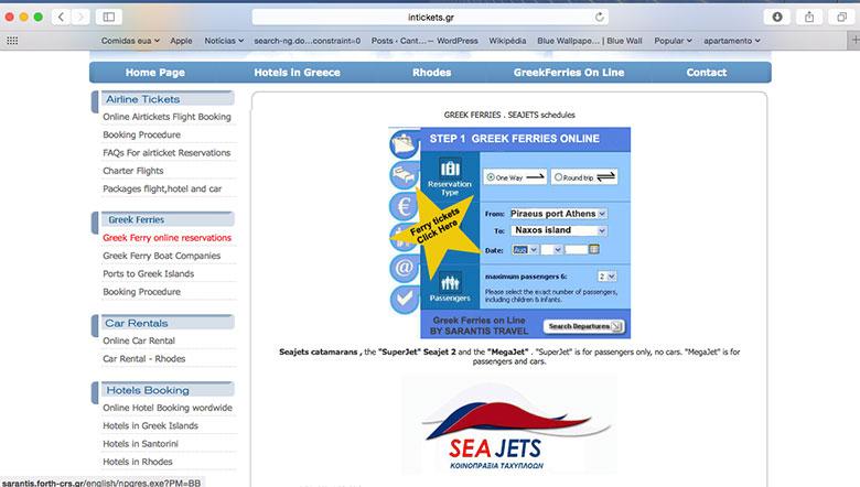 Site para compra de passagem de barco na Grécia